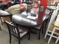 Dark Wood Extending Dining Table and 6 Chairs