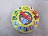 wooden clock shape sorter baby toddler toy