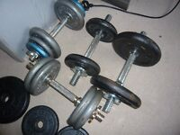 lot of free weights with bars £50