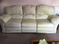 Large Cream Leather Three Seater Sofa with Either End Electrical Recliner