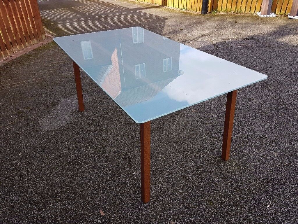 Ikea Frosted Glass & Solid Wood Dining Table FREE DELIVERY 014