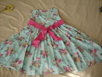Girls Joules Summer Party Dress Age 6 Years Blue Floral With Little Belt