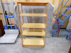 gorgeous solid wooden 5 shelf adjustable shelving unit in excellent condition. can deliver
