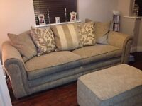 4 seater sofa and pouf