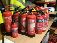 Fire extinguishers, all serviced and certification