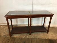Mahogany Veneer Side Console Hall Table with Glass and Wicker