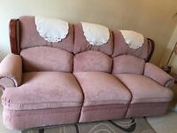 Free reclining Suite - newly upholstered - dusky pink colour - complete with foot stool