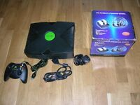 XBox with wheel and controller and leads
