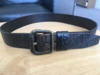 Black Vintage Diesel Leather Belt - Genuine Brand