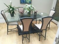 Elegant Glass Dining Table with set of 6 Chairs - great price + two table lamps for free!