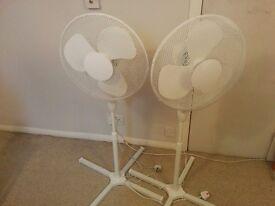 2 Oscillating fans - white