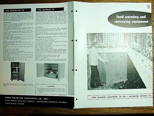 1956 Catalog FOOD WARMING Equipment Co Conveying Cabinets Hotel Cafeteria School