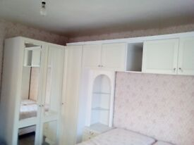 Schreiber white wardrobes to fit room 12x12ft with dressing table, stool and chest of drawers