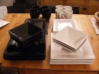 32 piece Black and White Square Dinner Set Used and in Excellent Condition
