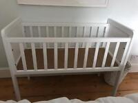 Mothercare Hyde white wood wooden crib small cot