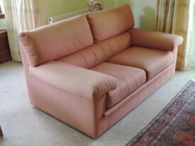Two seater sofa, high quality terracotta fabric, very good condition