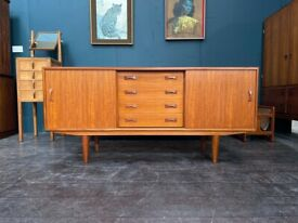 Danish Teak Mid Century Sideboard with Sliding Doors by Clausen and Son. Retro Vintage 1960s