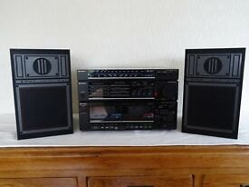 Vintage HITACHI HDR-M16 Stereo Radio, Amplifier,Twin Deck Cassette Recorder & Twin Speakers.