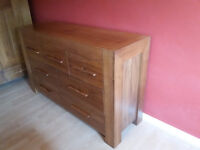 Walnut Chunky Chest Of Drawers