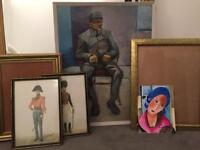 Picture frame, art and cork board