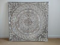 LARGE Metallic Etched Painted Canvas - Art Wall Hanging Picture Panting Gold Silver