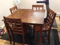Solid wood counter height dinning table and 4 chairs
