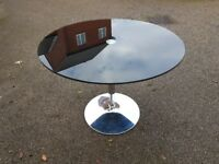 Round Black Glass & Chrome Dining Table FREE DELIVERY 620