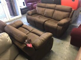 HARVEYS WHITBY BROWN SUEDE TYPE FABRIC 3 AND 2 SEATER SOFA SET THREE PLUS TWO BRAND NEW CHEAP