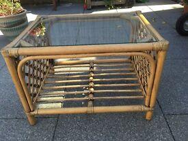 Pine glass top coffee table