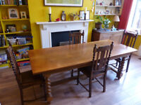 Refrectory table and four chairs. In good condition, solid and well made.