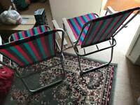 2x Metallic folding camping chairs