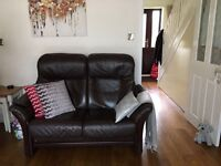 Fjords Italian luxury leather 3 and a 2 seater settee