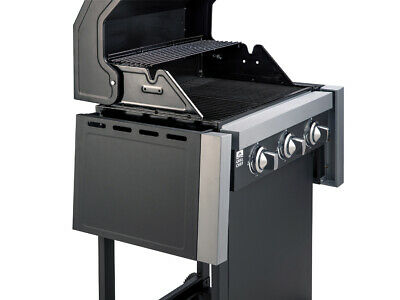 LANDMANN Gasgrill BBQ Grillwagen Grillchef in schwarz mit 3 Edelstahl Brenner