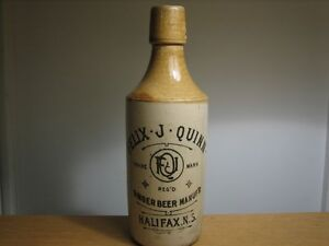 Antique FELIX J QUINN GINGER BEER BOTTLE Cat - NS - 47