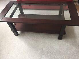 Beautiful wood and glass coffee table