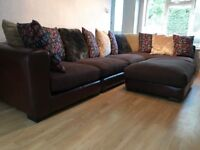 Dark Brown DFS, Leather and Fabric sectional Corner Sofa Delivery