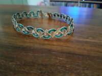 Handmade gold and teal choker
