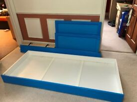 Child's Single Blue Starter Bed with a drawer and mattress