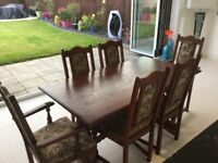 Old Charm dining table 2 Carver Chairs & 4 Dining Chairs very good condition