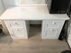 White bedside table with drawers x 2