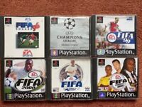 Six PlayStation One original football games including FIFA Soccer 96 and UEFA Champions League 98/99