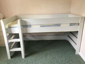 White mid sleeper single bed