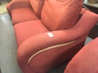 RED FABRIC WITH BEECHWOOD SODES ROUDED ARM SOFA WITH CHAIR