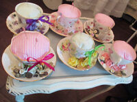Pretty Vintage Cup & Saucer Pin Cushion Christmas Gift Idea