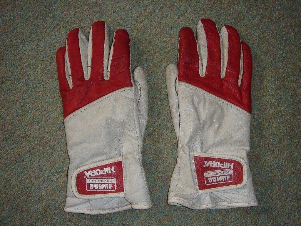 Red and white leather Jumbo International Nino GP motorcycle / motorbike gloves
