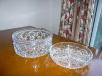 Cut glass bowl and snacks dish