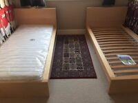 A pair of Single Bed Frames by Ikea in Beech Brand New Never Used Mattress Not Included