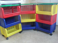 3 x Children's 3 tier multicoloured storage units with wheels - Will sell separately