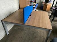Two person desk with partition
