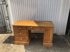 Solid pine desk, large drawers, built-in cupboard and pull out keyboard drawer